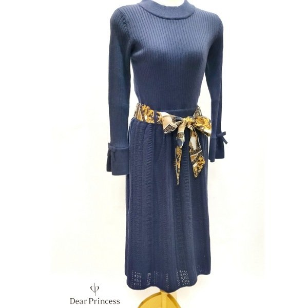 画像1: 【Dear Princess SALE 50%OFF】リブ生地と袖のリボン ニットワンピース スカーフベルト付   (1)