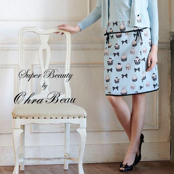 画像1: 【スーパービューティー●新作50%OFF●】  カップケーキとリボンのプリントデザインのスカート (1)