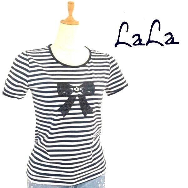 画像1: 【NEW BRAND LaLa 半額セール】スパンコールリボン絵柄ビジューとパール飾りTシャツ《送料220円代引は通常送料》 (1)